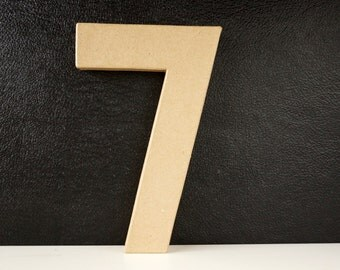 DIY Paper Mache Number Seven 7 (8 inches tall) - Ready to Decorate Blank Number   Home Decor   DIY Wedding Table Number