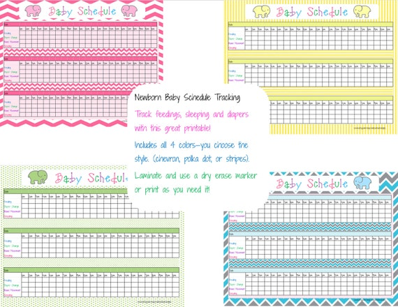 PRINTABLE Newborn Baby Schedule tracking. by MelissaBeeDesigns