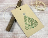 10 Letterpress Holiday Christmas Tree Gift Tags // Green and Blue on Brown Kraft Cover Stock