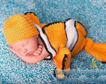 Clownfish Costume for Baby - Exclusive Finding Nemo set - Cocoon and Hat - coral fish newborn outfit - Halloween, photo prop, baby shower