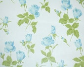 Retro Wallpaper by the Yard 60s Vintage Wallpaper - 1960s Blue Roses and Rosebuds with Green Leaves on White