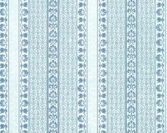 Retro Flock Wallpaper by the Yard 70s Vintage Flock Wallpaper - 1970s Blue Flock Stripe