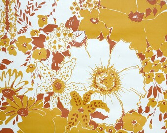 Retro Wallpaper by the Yard 70s Vintage Wallpaper - 1970s Orange Red and White Tropical Floral Wallpaper