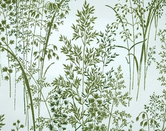 Retro Flock Wallpaper by the Yard 70s Vintage Flock Wallpaper - 1970s Green Leafy Flock Sprigs and Grasses on White