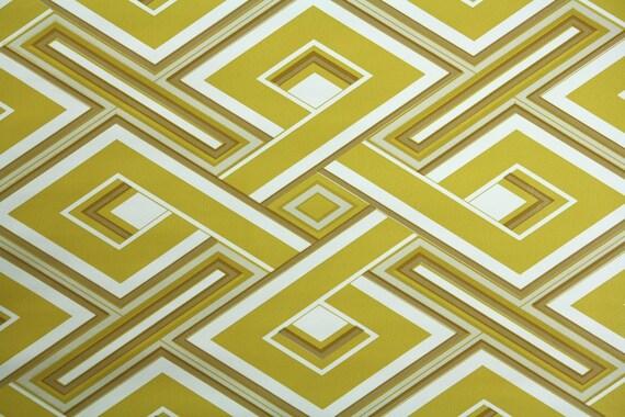 1970's Retro Wallpaper- Vintage Vinyl Mustard Yellow and White Geometric Wallpaper