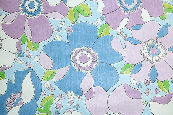 Retro Wallpaper by the Yard 70s Vintage Wallpaper - 1970s Lavender Purple and Blue Large Floral