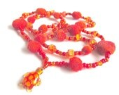 """Felt beads necklace """"Tortuga"""", pure new wool, seed beads, pony glass beads, artisan lampwork bead, felted, red, orange, OOAK, one of a kind"""