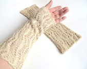 "Long elegant silk lace mittens ""Ophelia"", natural pure Tussah silk, wild silk, knitted, crocheted, satin gold, matte gold, cream, golden"