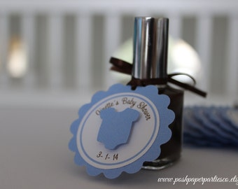 Baby Shower Favor Tags for Nail Polish - It's A Boy - Baby Blue and Brown - Customized