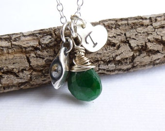 Sterling Silver Pea in a Pod Birthstone Initial Trio Necklace -- Choose Your Stone