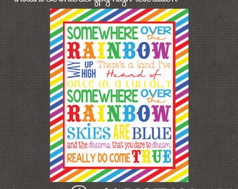 Somewhere over the Rainbow 8x10 digital you print your own- INSTANT DOWNLOAD