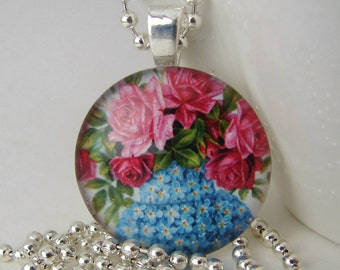 Vase of Roses Pendant with Free Necklace