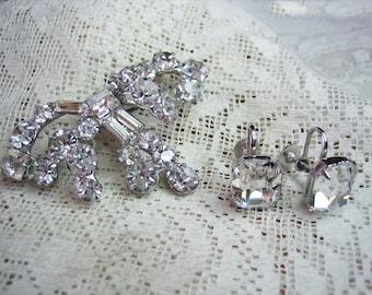 Vintage Emerald Cut Rhinestone Brooch and Earrings