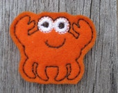 Crab--Orange-- Machine Embroidered   FE-573