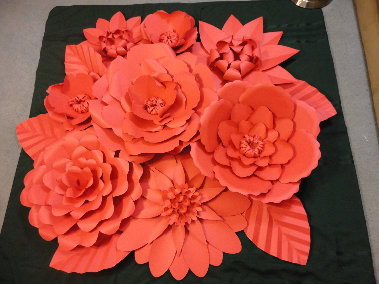 red paper flower wall heart cutouts. Black Bedroom Furniture Sets. Home Design Ideas
