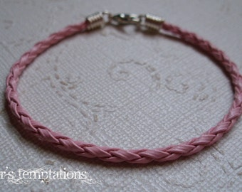 Pink Braided Leather Bracelet, Breast Cancer Awareness, Stacking Leather Bracelet, Unisex, Gender Reveal, Handmade by Taylors Temptations