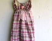 RESERVED FOR AMY sweet plaid pink brown boho girl Rustic lace prairie shabby cowgirl chic gypsy sundress bridesmaid dress
