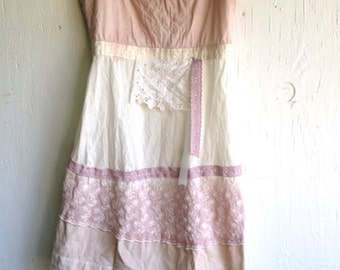 SALE gypsy boho fairy earthy dip dyed soft rose natural rustic ecru vintage lace romantic wedding party shabby cami tunic