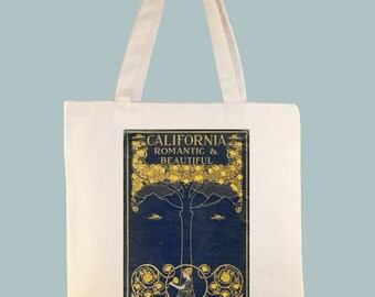 California Romantic and Beautiful Vintage Book Cover, George Wharton James, printed on canvas tote -- size selection available