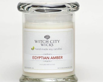 Egyptian Amber scented soy jar candle, Bridesmaid gift / Wedding gift / Mother's Day gift