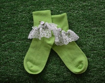 Apple Green -  Lace Socks with Rose for Little Girls - Size 6-7 1/2 (XS) - US Shoe Size 6-11