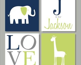 Elephant and Giraffe, Safari, Children's Wall Art, Nursery Wall Art, Children's Canvas- Set of four stretched canvas Customizable