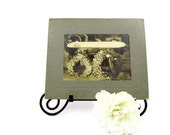 Victorian post mortem photo of ghostly remains in flower covered open coffin large board mounted picture