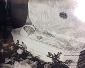 post mortem photo circa 1940s baby in open casket coffin large 8 by 10 photo in case