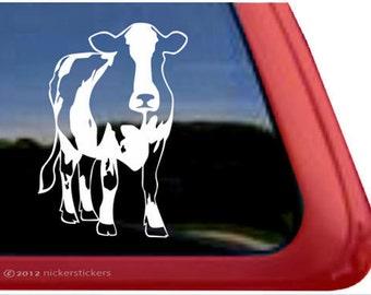 "Holstein Cow   DC767PLR   High Quality Adhesive Vinyl Holstein Cow Window Decal Sticker - 5"" tall x 3.5"" wide"
