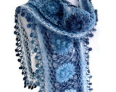 crochet scarf, crochet flower scarf, turkish scarf style, unique gift, valentines day,mothers day, Blue