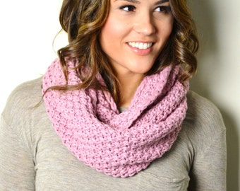 SALE Lilac Honeycomb Pattern Knitted Infinity Scarf, Loop Circle Scarf, Cowl, Womens Knitted Scarves, Snood, Knits, Womens scarves, boho