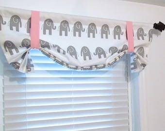 Elephant Tie Up Valance  Lined  Curtain Nursery Kids  Valance   White/ Grey/ Pink  Custom Sizing Available!