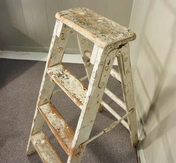 Cosco Chippy Red Metal Kitchen Cart Movable Painted Vintage: Vintage Splashy Paint Wooden Step Ladder Step Stool By
