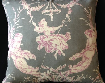 ROMANTIC FRENCH TOILE from France Grey Pillow Cover (1289)