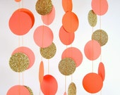 Paper Garland in Orange, Coral, Tangerine and Gold, Bridal Shower, Baby Shower, Party Decorations, Birthday Decor