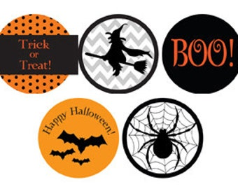 35 Extra Large Round Halloween Stickers  - Complete Custom - Make your gifts stand out
