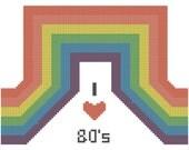 Cross Stitch Pattern - I Heart the 80s Rainbow Custom