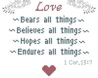 Love Bears All Things Cross Stitch Pattern/1 Corinthians 13:7 Cross Stitch Pattern/Dove Cross Stitch Pattern/Religious Wedding Cross Stitch