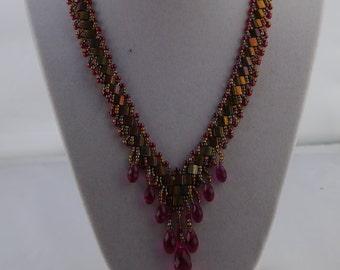 Unique Tila tile and briolette St. Petersburg necklace