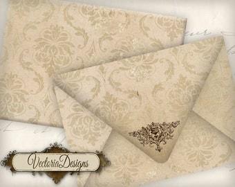 Damask Envelopes Printable Envelopes instant download digital collage sheet VD0577