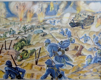 Large Stunning Vintage French School double-sided World War 1 poster