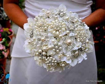 LARGE Pearl Hydrangea Brooch Bouquet - Wedding Bouquet - Bridal Bouquet