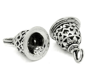 4 Antique Silver Moveable Carved Pattern CHRISTMAS BELL Charm Pendants  chs1392