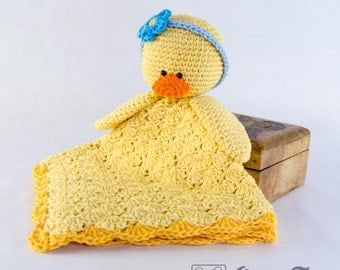 Duck Lovey / Security Blanket  - PDF Crochet Pattern - Instant Download - Blankie Baby Blanket
