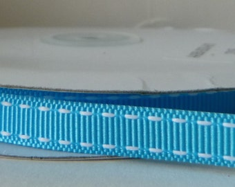 Turquoise 10mm Saddle Stitched Grosgrain Ribbon