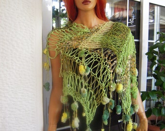 SALE scarf handmade knitted scarf/long Stevie Nicks style carf/gift idea for her in shades of green by golden yarn
