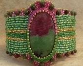Ruby and Zoitzite Egyptian influenced beaded cuff bracelet