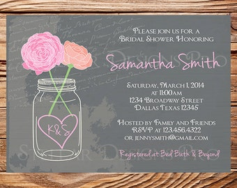 Bridal Shower Invitation,Mason Jar Peonies, Garden Flowers Mason Jar,Chalkboard, Mason Jar,Pink, Coral, Purple,Mason Jar Wedding, 5119