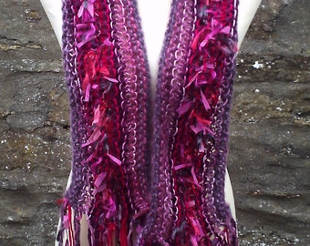 Women / teenager hand knitted freestyle scarf. Pink and purple mix and match.
