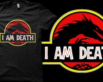 "The Hobbit Desolation of Smaug Jurassic Park Logo ""I Am Death"" T-shirt  - Unisex or Ladies Fit T-shirts"